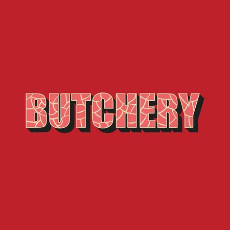 Butchery - lettering icon design.