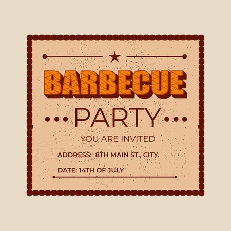 Barbecue party - lettering banner design. Çizim