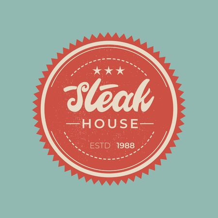 Steak house - lettering badge design.