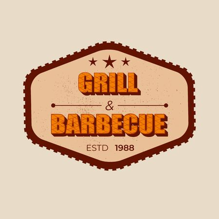 Grill and barbecue - lettering badge design. Çizim