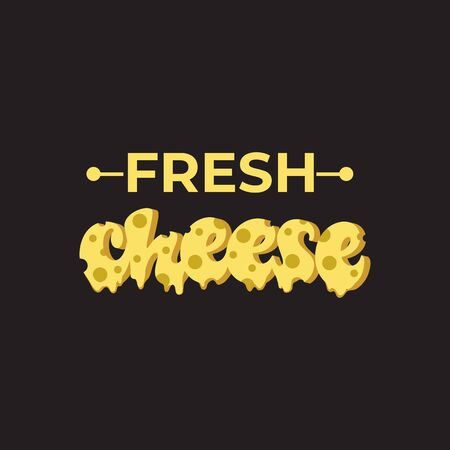 Fresh Cheese lettering design. Vector illustration. Çizim