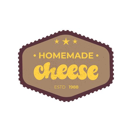 Homemade Cheese lettering badge design.