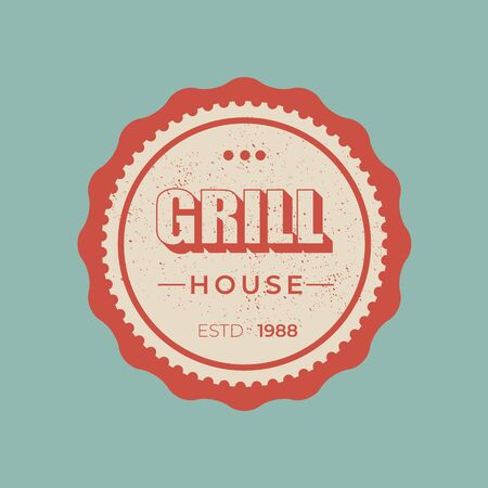 Grill house - lettering badge design. Çizim