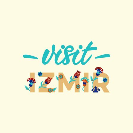 Visit Izmir - Lettering banner design. Vector illustration.