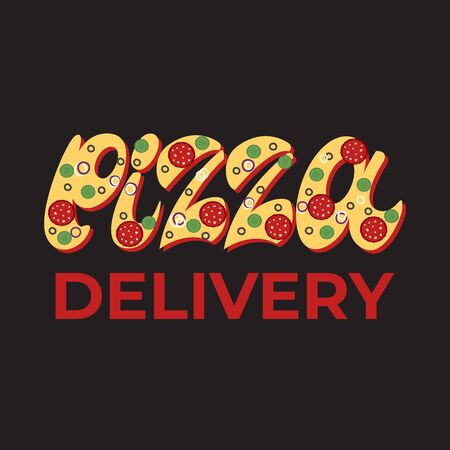 Pizza delivery - lettering banner design. Vector illustration.