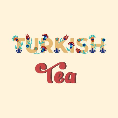 Turkish tea - lettering banner design. Vector illustration. Çizim
