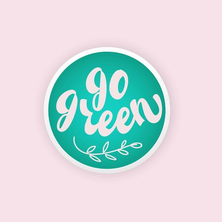 Go Green - lettering design. Vector illustration. Çizim