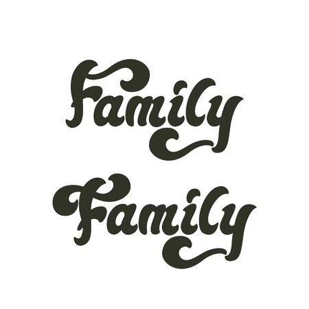 Family - lettering word design. Vector illustration. Çizim