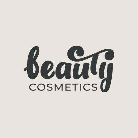 Beauty cosmetics - lettering logo design.  Vector illustration. Çizim