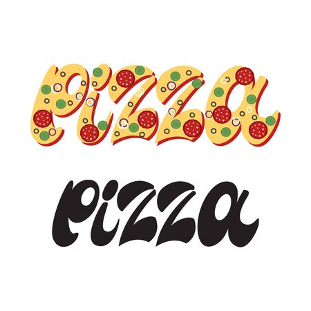 Pizza logo - lettering design. Vector illustration.