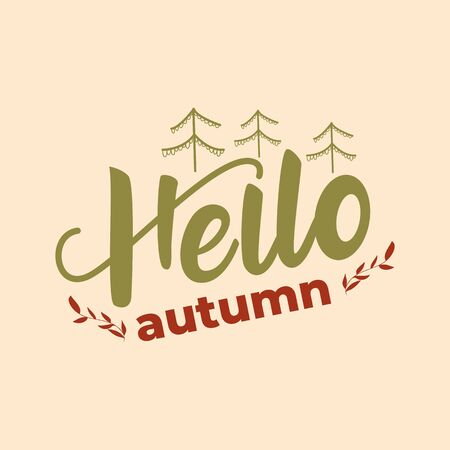 Hello autumn - lettering card design. Vector illustration Çizim