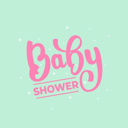 Baby Shower - lettering card design. Vector illustration.