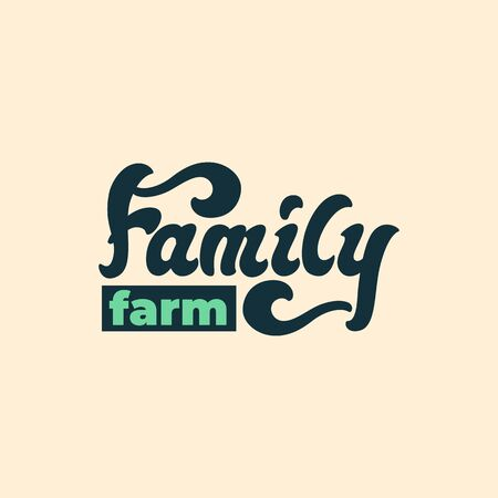 Family Farm - lettering sign design. Vector illustration.