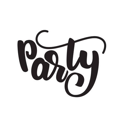 Party - lettering design. Vector illustration. Çizim
