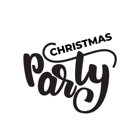 Christmas party lettering card. Vector illustration.