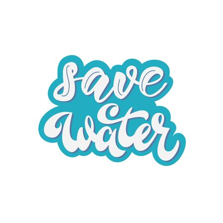 Save water - lettering badge design. Vector illustration. Çizim