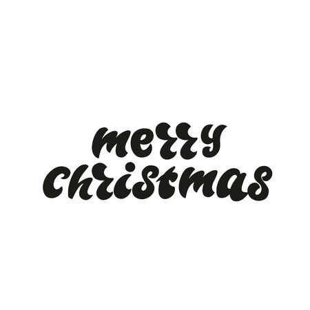 Merry Christmas - lettering design. Vector illustration. Çizim