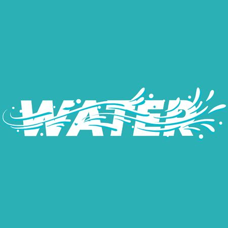 Water lettering word. Vector illustration.