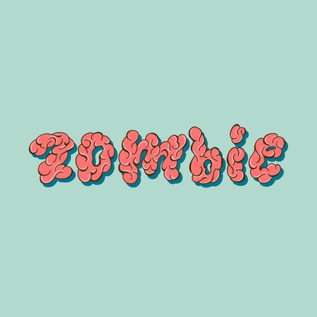 Zombie - Lettering poster design. Vector illustration.  イラスト・ベクター素材