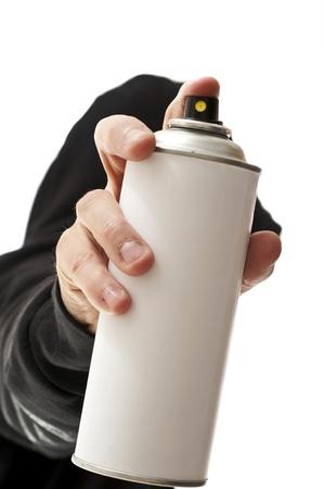 trasgressione: scrittore con lo spray in primo piano Archivio Fotografico