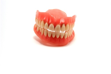 viewed from the front dentures on a white background