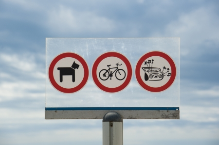 Signs forbidding places on the beaches photo