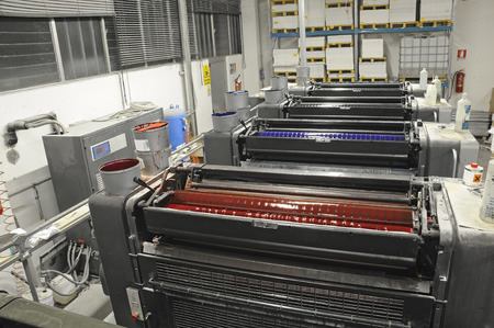 offset printing: view from above of offset printing machine