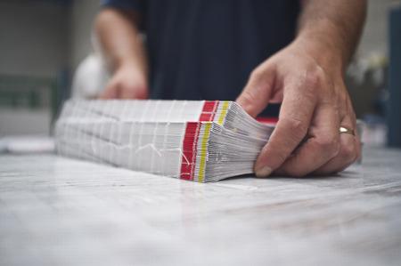 imprenta: close up de bolsillo cosido vinculante
