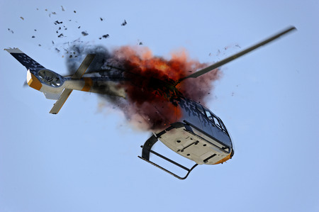 explode: helicopter exploding in flight