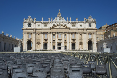 liturgy: view of St. Peters square in Vatican City State with chairs to attend of Popes liturgy Stock Photo