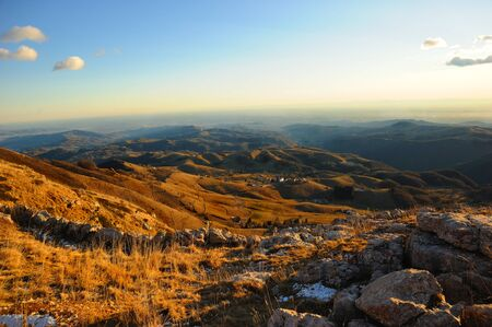 selva: panoramic photography of  Montagna Alba Alba Mountain at sunset Stock Photo