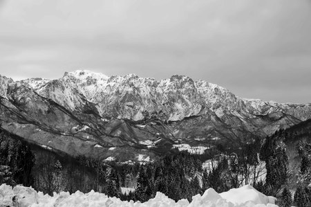Panoramic View Of Pasubio Mount in black and white 版權商用圖片