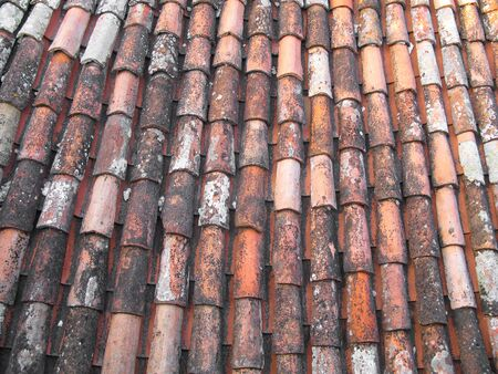 old roof tiles made of terracotta