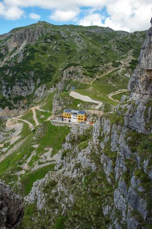 Vicenza - Italy - july 19, 2016 rifugio generale Achille Papa on the Road of 52 galleries, (Road of 52 galleries) is a military trail built during World War I on the massif of Pasubio (Vicenza, Italy)