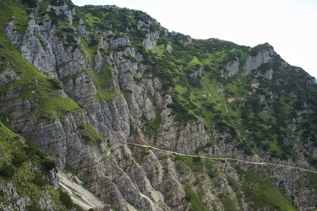 Strada delle 52 gallerie (Road of 52 galleries) is a military trail built during World War I on the massif of Pasubio (Vicenza, Italy) 版權商用圖片
