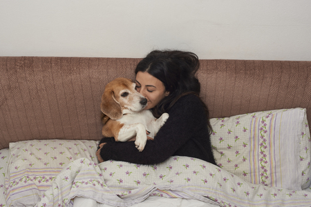 young woman embraces her Beagle dog, covered with a blanket in bed