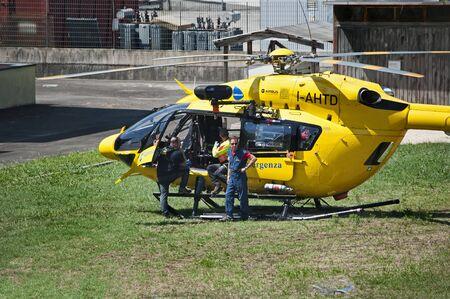 16/07/2019 Valdagno (VI) Italy: yellow Italian rescue, with ground crew Editorial