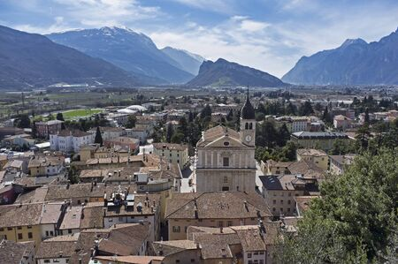 panoramic view from above of the castle of the city of Arco, Garda Lake, Italy