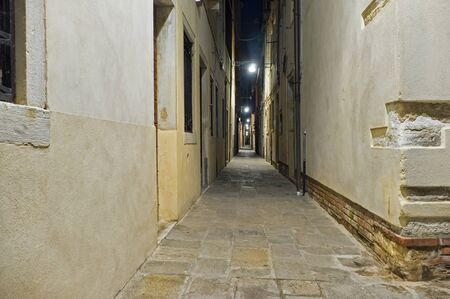 night scene of narrow calle of Venice