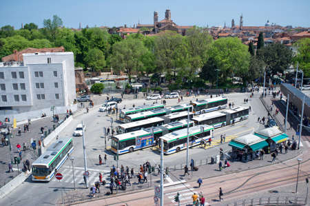 10 - May - 2019, Piazzale Roma, Venice, Italy - Is a square in Venice at the entrance of the city. The square acts as the main bus station for Venice. Piazzale Roma and nearby Tronchetto island are the only places in Venice's insular urban core accessible