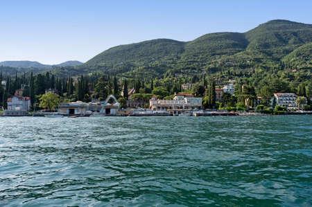 4, August 2019: Gardone Riviera (Brescia), Italy - former casino of Gardone Riviera, seen from the lake of Garda