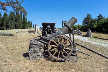 cannons of the first world war on display in Italy