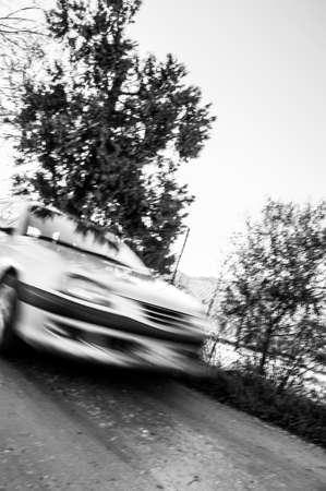 moving car in country road, motion blur effect