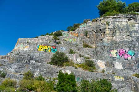 26, June, 2019 - Rovinj, Croatia: climbing area in Rovinj in Istria. Rovinj or Rovigno is the beautiful small coastal town in Istria, Croatia 新聞圖片