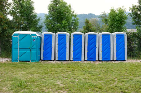 Line of portable toilets also for disabled people, abandoned due to the state of emergency in response to the coronavirus crisis that bans all public events