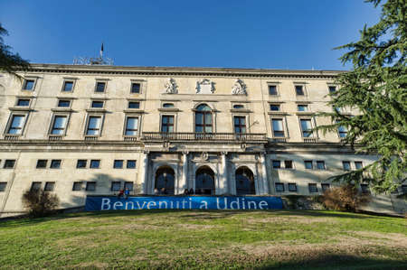 6 Junary 2015 Udine, Italy: Fachade of The Castle of Udine, with banner with the words welcome to Udine, one of Friuli's most emblematic landmarks, Today the ground floor of the castle is home to two recently opened museums: the Museo del Risorgimento and