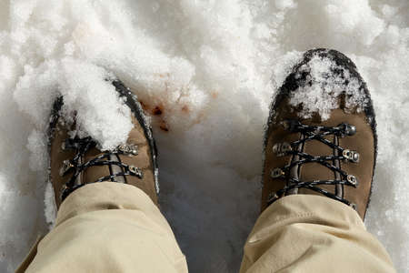 Close up of feet in winter boots in the snow 免版税图像