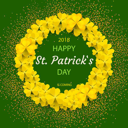 Saint Patrick's Day Round Frame with yellow Tree Leaf Clovers vector illustration 矢量图像