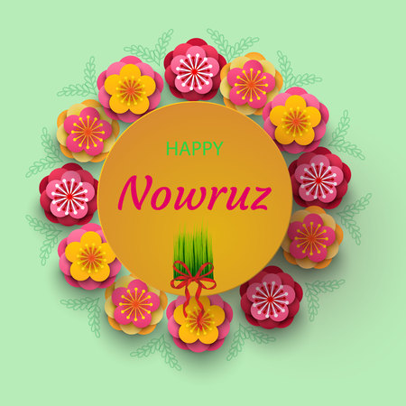 Happy Nowruz holiday card with pink and yellow flowers.