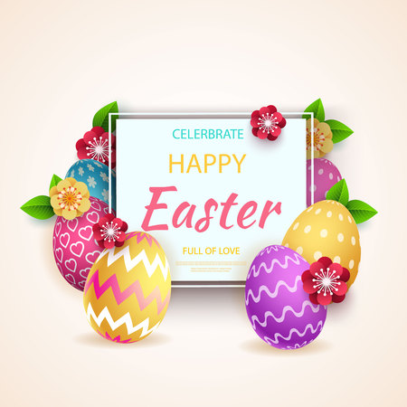 Happy easter greeting card, colorful easter eggs with geometric pattern. Vector illustration